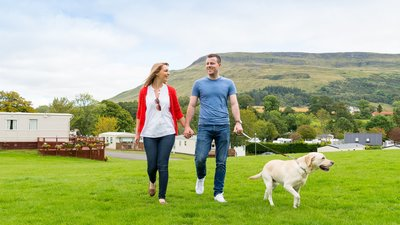 Campsie Glen scenery couple dog and view