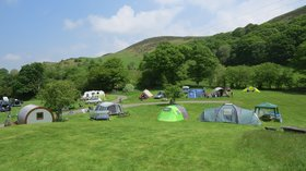 Campsite in Mid Wales, Woodlands Caravan Park, Woodlands Devil's Bridge - Camp beneath the trees and hills