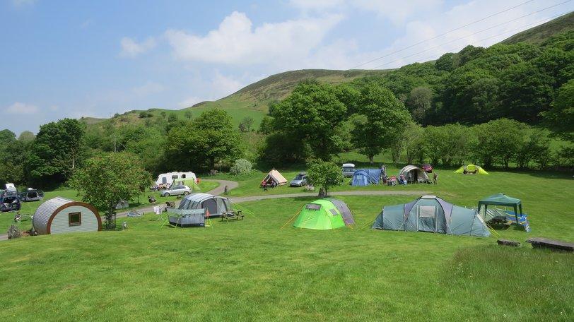 Campsite in Mid Wales, Woodlands Caravan Park, Woodlands Devil's Bridge - Camp beneath the trees and hills