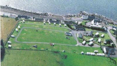 Aerial view of Gairloch Caravan & Camping Park, Highland, Scotland