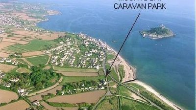 Map of wherre Mounts Bay Caravan Park, Cornwall is - The exact location of the park