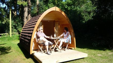 Camping pods at the park