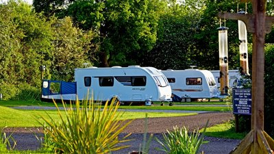 Detail of caravans with bird feeders in the foreground