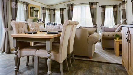 Static Caravans Durham - Stylish dining and lounge area in a luxury bungalow at Heron Park