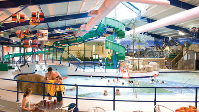 Splashland indoor swimming pool with water slides and chutes