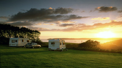 Sunset at Plymouth Sound Caravan Club Site, Devon, South West England