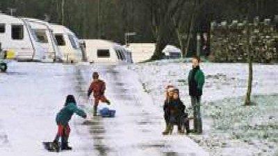 On the site - Winter on Meathop Fell Caravan Club Site
