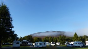 Mountainous area on the caravan site with beautiful sky