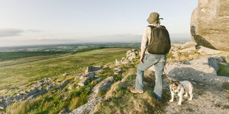 Dog-friendly Cornwall holidays - Dog walking on Bodmin Moor