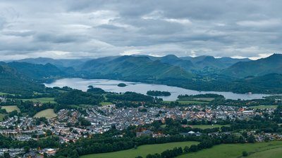 Keswick Panorama near the caravan site (© By Diliff (Own work) [CC BY-SA 3.0 (https://creativecommons.org/licenses/by-sa/3.0) or GFDL (http://www.gnu.org/copyleft/fdl.html)], via Wikimedia Commons (GFDL copy: https://en.wikipedia.org/wiki/GNU_Free_Documentation_License, original photo: https://en.wikipedia.org/wiki/GNU_Free_Documentation_License))