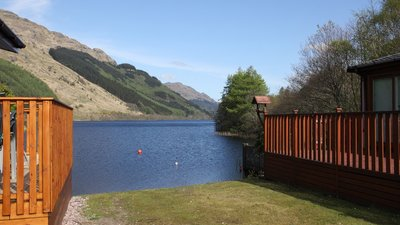 Lake view and lodges on Lock Eck Country Lodges