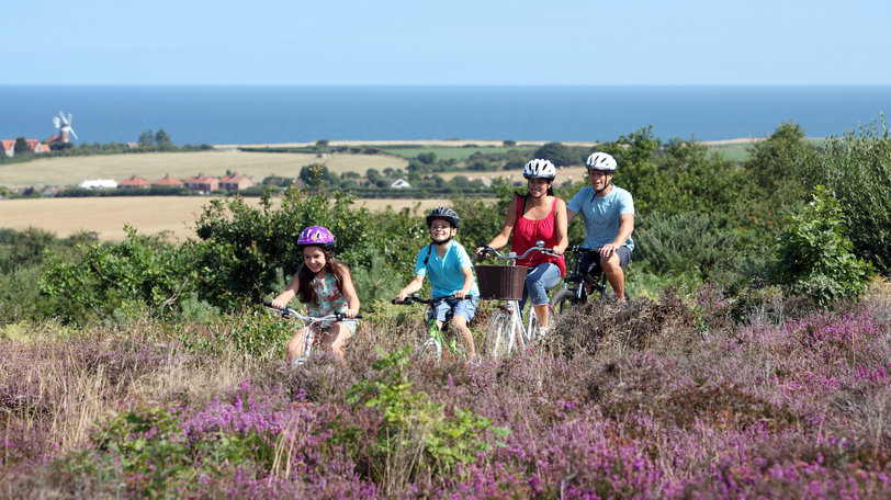 UNE family cycling past viewpoint