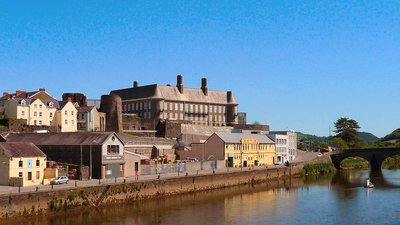 Carmarthenshire County Hall from across Towy (© By Rhyshuw1 [CC BY-SA 3.0 (https://creativecommons.org/licenses/by-sa/3.0) or GFDL (http://www.gnu.org/copyleft/fdl.html)], via Wikimedia Commons (GFDL copy: https://en.wikipedia.org/wiki/GNU_Free_Documentation_License, original photo: https://commons.wikimedia.org/wiki/File:Carmarthenshire_County_Hall_from_across_Towy.png))
