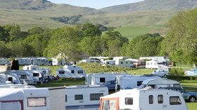 Touring caravans on the caravan park