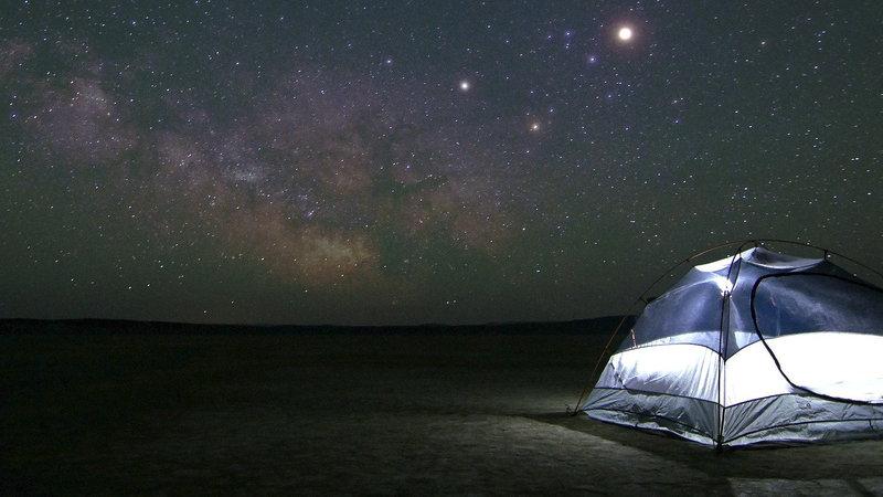 A campsite at night - <i>A campsite under the stars</i>