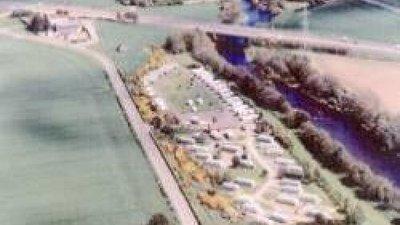 Aerial photograph of the caravan site