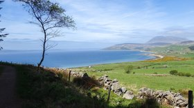 View on the landscape of Isle of Arran near the caravan site