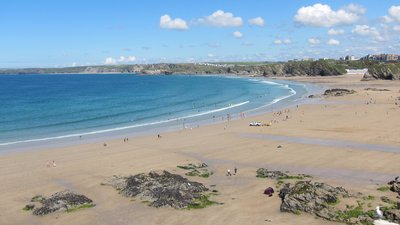 Towan Beach, Newquay, Cornwall (© By Proper Handsome (Own work) [CC BY-SA 3.0 (http://creativecommons.org/licenses/by-sa/3.0)], via Wikimedia Commons (original photo: https://commons.wikimedia.org/wiki/File:Towan_Beach,_Newquay_Cornwall.jpg))