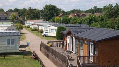 Shop & laundrette at Pakefield Caravan Park, Suffolk, East England