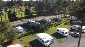 Touring caravans on the site